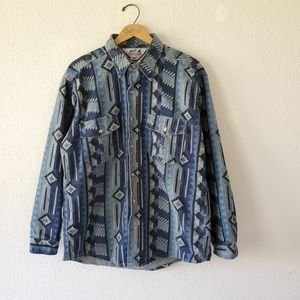 Vintage Navajo Pattern Heavy Cotton Shirt Jacket